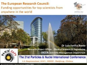 The European Research Council Funding opportunities for top