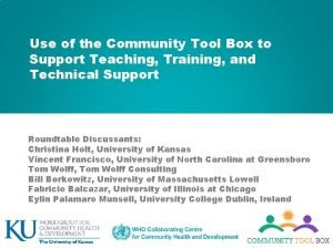 Use of the Community Tool Box to Support