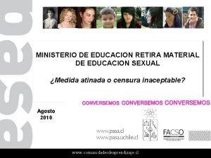 MINISTERIO DE EDUCACION RETIRA MATERIAL DE EDUCACION SEXUAL