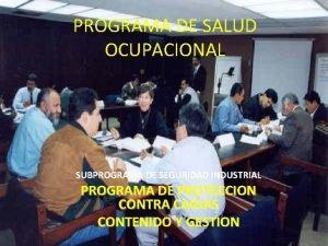 PROGRAMA DE SALUD OCUPACIONAL SUBPROGRAMA DE SEGURIDAD INDUSTRIAL