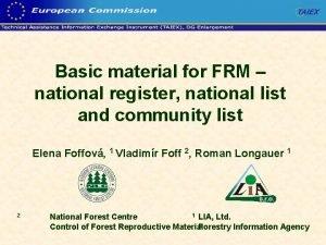 Basic material for FRM national register national list