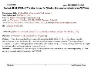 March 2001 doc IEEE 802 15 01138 r