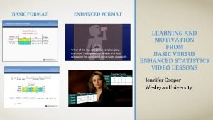 BASIC FORMAT ENHANCED FORMAT LEARNING AND MOTIVATION FROM