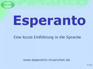 Esperanto Eine kurze Einfhrung in die Sprache www