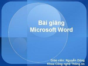 Bi ging Microsoft Word Gio vin Nguyn Dng