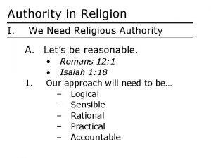 Authority in Religion I We Need Religious Authority