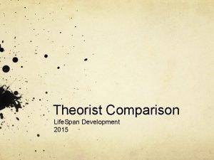 Theorist Comparison Life Span Development 2015 Developmental Theories