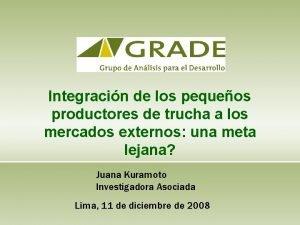 Integracin de los pequeos productores de trucha a