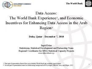 The World Bank Data Access The World Bank