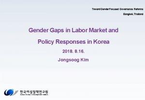 Toward Gender Focused Governance Reforms Bangkok Thailand Gender
