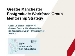 Greater Manchester Postgraduate Workforce Group Mentorship Strategy Carol