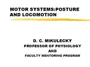 MOTOR SYSTEMS POSTURE AND LOCOMOTION D C MIKULECKY