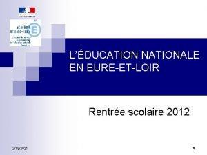 LDUCATION NATIONALE EN EUREETLOIR Rentre scolaire 2012 2182021