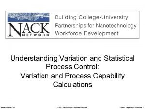 Understanding Variation and Statistical Process Control Variation and
