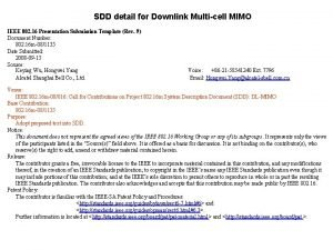 SDD detail for Downlink Multicell MIMO IEEE 802