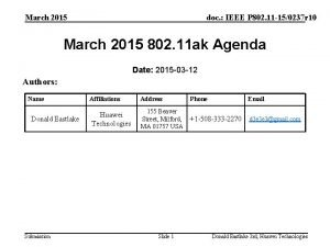 March 2015 doc IEEE P 802 11 150237