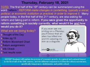 Thursday February 18 2021 TOTD The first half