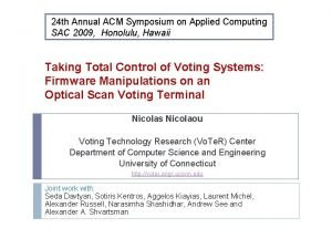 24 th Annual ACM Symposium on Applied Computing
