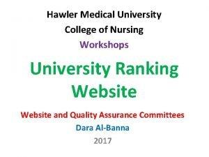 Hawler Medical University College of Nursing Workshops University