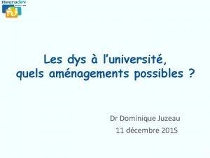 Les dys luniversit quels amnagements possibles Dr Dominique