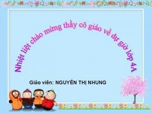 Gio vin NGUYN TH NHUNG Tin hc Bi