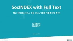 Soc INDEX with Full Text FullText Soc INDEX