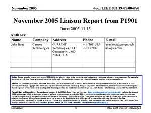 November 2005 doc IEEE 802 19 050049 r