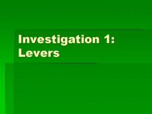 Investigation 1 Levers Vocab Lever a lever is