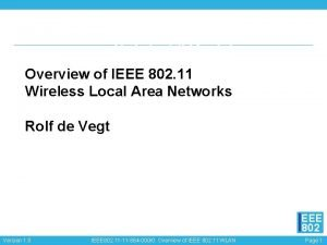 IEEE 802 11 Overview of IEEE 802 11