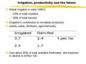Irrigation productivity and the future n Global irrigation