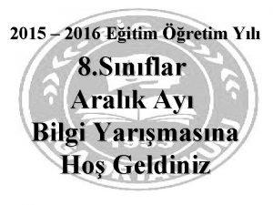 2015 2016 Eitim retim Yl 8 Snflar Aralk