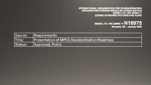 INTERNATIONAL ORGANISATION FOR STANDARDISATION ORGANISATION INTERNATIONALE DE NORMALISATION