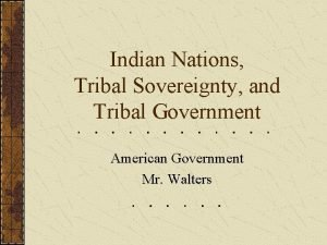 Indian Nations Tribal Sovereignty and Tribal Government American