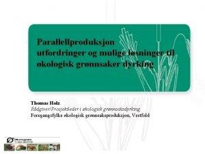 Parallellproduksjon utfordringer og mulige lsninger til kologisk grnnsaker