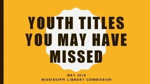 YOUTH TITLES YOU MAY HAVE MISSED MAY 2018
