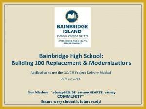 Bainbridge High School Building 100 Replacement Modernizations Application