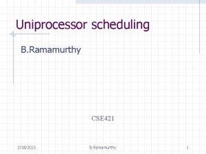Uniprocessor scheduling B Ramamurthy CSE 421 2182021 B