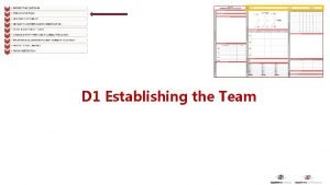 D 1 Establishing the Team Establishing the Team