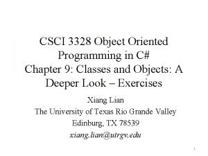 CSCI 3328 Object Oriented Programming in C Chapter