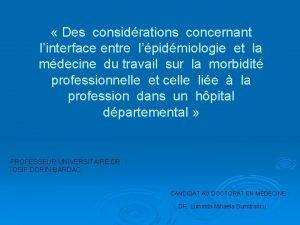 Des considrations concernant linterface entre lpidmiologie et la