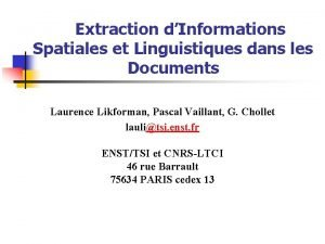Extraction dInformations Spatiales et Linguistiques dans les Documents
