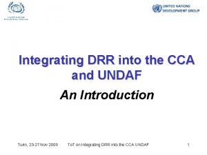 Integrating DRR into the CCA and UNDAF An