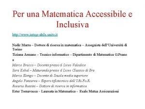 Per una Matematica Accessibile e Inclusiva http www