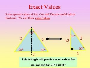 Exact Values Some special values of Sin Cos