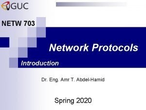 NETW 703 Network Protocols Introduction Dr Eng Amr