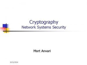 Cryptography Network Systems Security Mort Anvari 8312004 Cryptography