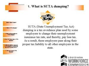 1 What is SUTA dumping Alert 1 What