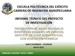 ESCUELA POLITCNICA DEL EJRCITO CARRERA DE INGENIERA AGROPECUARIA