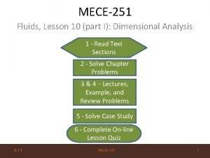 MECE251 Fluids Lesson 10 part I Dimensional Analysis