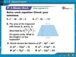 Over Lesson 8 3 Over Lesson 8 3
